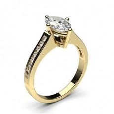Marquise Yellow Gold  Side Stone Diamond Engagement Rings