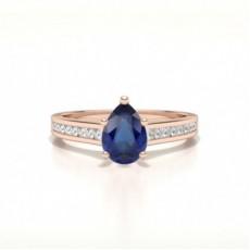 Pear Rose Gold Gemstone Diamond Rings