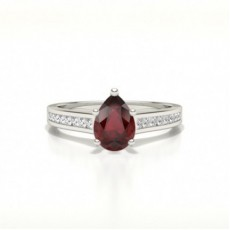 Pear White Gold Gemstone Diamond Rings