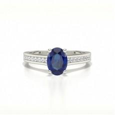 Oval White Gold Gemstone Diamond Rings