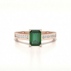 Emerald Rose Gold Gemstone Diamond Rings