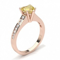 Heart Rose Gold Yellow Diamond Engagement Rings