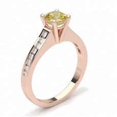 Cushion Rose Gold Side Stone Engagement Rings