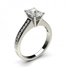 Radiant White Gold Side Stone Diamond Rings