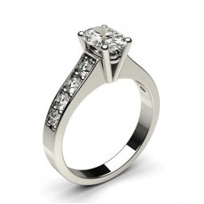 Oval Platinum Side Stone Diamond Rings