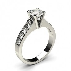 Cushion Platinum Side Stone Engagement Rings