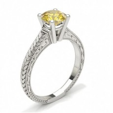 4 Prong Setting Large Yellow Diamond Ring