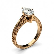 Marquise Rose Gold Vintage Diamond Engagement Rings