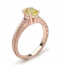 Oval Rose Gold Yellow Diamond Engagement Diamond Engagement Rings