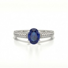 Oval Blue Sapphire Vintage Diamond Engagement Ring