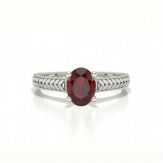 Oval Ruby Vintage Diamond Engagement Ring