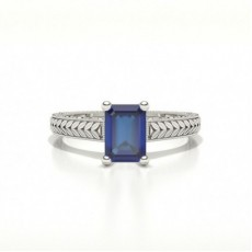 Emerald Shaped Blue Sapphire Vintage Diamond Engagement Ring