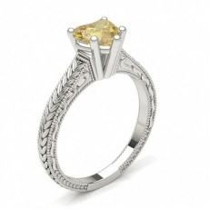 Heart Platinum Yellow Diamond Engagement Engagement Rings