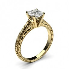 Asscher Yellow Gold Solitaire Diamond Engagement Rings