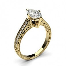 Marquise Yellow Gold Vintage Engagement Rings