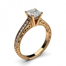 Asscher Rose Gold  Vintage Engagement Rings