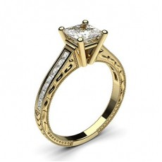 Princess Yellow Gold Side Stone Diamond Rings