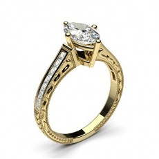 Marquise Yellow Gold Vintage Diamond Engagement Rings
