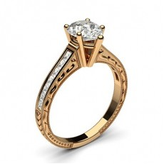Pear Rose Gold Side Stone Diamond Rings