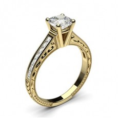 Cushion Yellow Gold  Vintage Diamond Engagement Rings