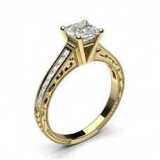 Asscher Yellow Gold Diamond Rings