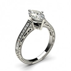 Marquise Platinum Vintage Diamond Engagement Rings
