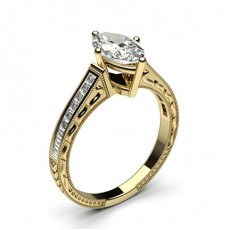Marquise Yellow Gold Engagement Rings