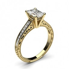 Emerald Yellow Gold Vintage Engagement Rings