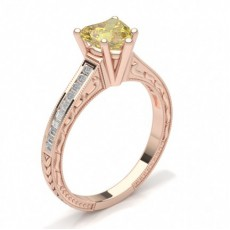Heart Rose Gold Side Stone Diamond Rings