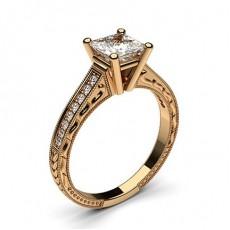 Princess Rose Gold  Vintage Diamond Engagement Rings