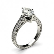 White Gold Heart Vintage Diamond Engagement Ring