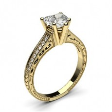 Heart Yellow Gold Side Stone Engagement Rings