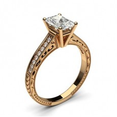 Radiant Rose Gold  Vintage Diamond Engagement Rings