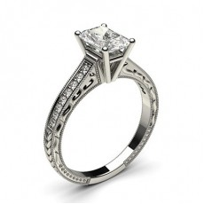 Radiant Platinum Side Stone Diamond Rings