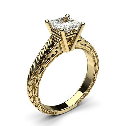 Yellow Gold Princess Vintage Diamond Engagement Ring