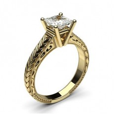 Asscher Yellow Gold Vintage Engagement Rings