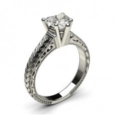 Heart Platinum Solitaire Diamond Engagement Rings