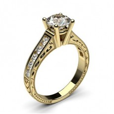 Round Yellow Gold Vintage Engagement Rings
