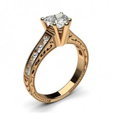 Rose Gold Princess Vintage Diamond Engagement Ring