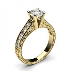 Cushion Yellow Gold Diamond Engagement Rings