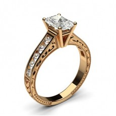 Radiant Rose Gold Side Stone Diamond Rings