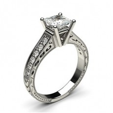 Princess White Gold Vintage Engagement Rings