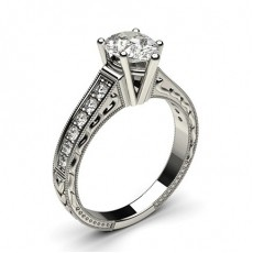 Pear Platinum Vintage Diamond Engagement Rings