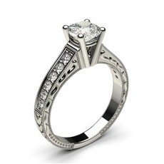 Cushion White Gold Side Stone Engagement Rings