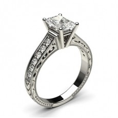 Radiant White Gold Vintage Engagement Rings