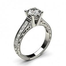 Diamant Verlobungsring in einer Krappenfassung mit großen Schulter Diamanten