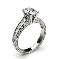 White Gold Round Vintage Diamond Engagement Ring