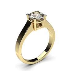 Round Yellow Gold Solitaire Diamond Rings