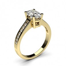 Oval Yellow Gold  Side Stone Engagement Rings