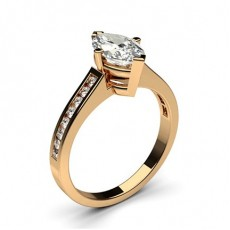 Marquise Rose Gold Side Stone Diamond Rings